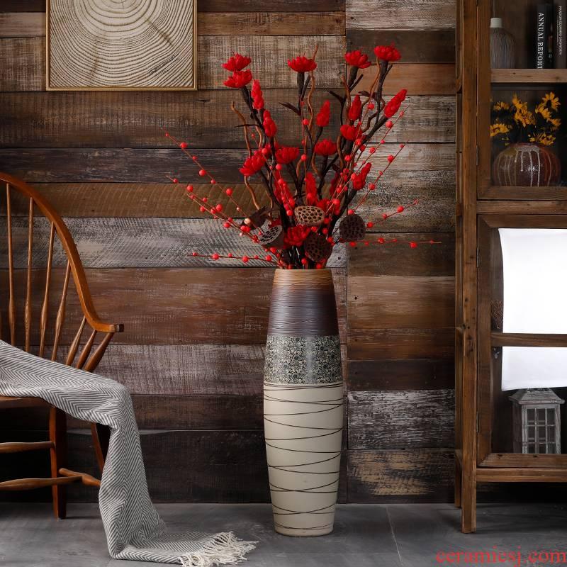 Jingdezhen furnishing articles dried flowers decorative ceramic flower arrangement sitting room be born a large vase retro artificial flowers light key-2 luxury decorative porcelain