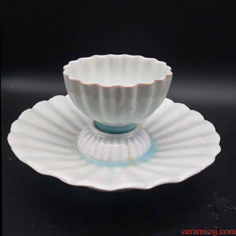 Jingdezhen shadow blue porcelain lamp cup water cup shadow blue porcelain imitation northern song dynasty porcelain cup warm porcelain cup