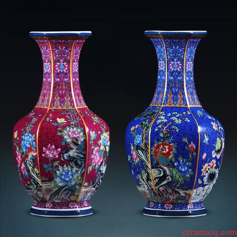 Jingdezhen ceramics imitation qianlong vase retro classic Chinese style household flower arrangement sitting room porch decoration furnishing articles