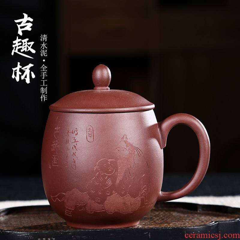 Tea seed yixing purple sand cup with cover cup Tea male high - capacity ms office cup all pure hand household