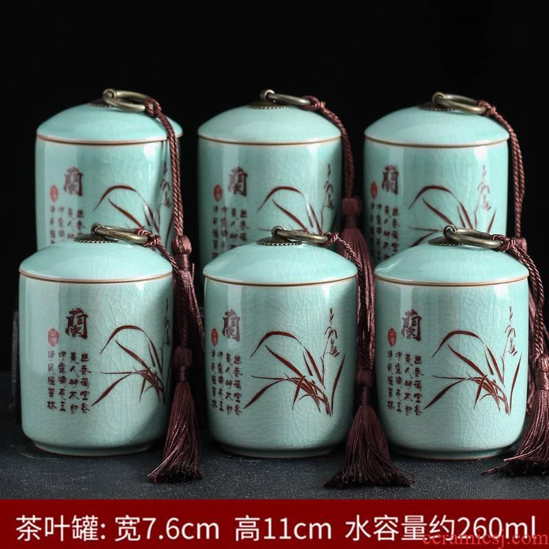 Violet arenaceous seal tea pot small portable store ceramic POTS household moistureproof puer tea boxes gift box
