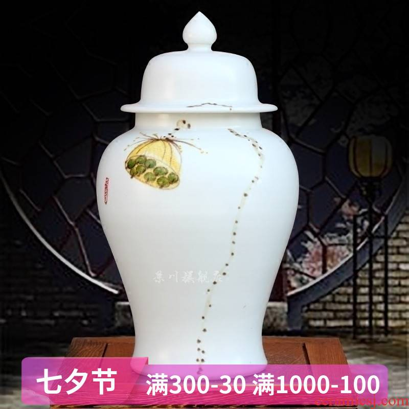 Jingdezhen ceramics is pure and fresh and contracted hand - made lotus vase general jar of home sitting room study office furnishing articles