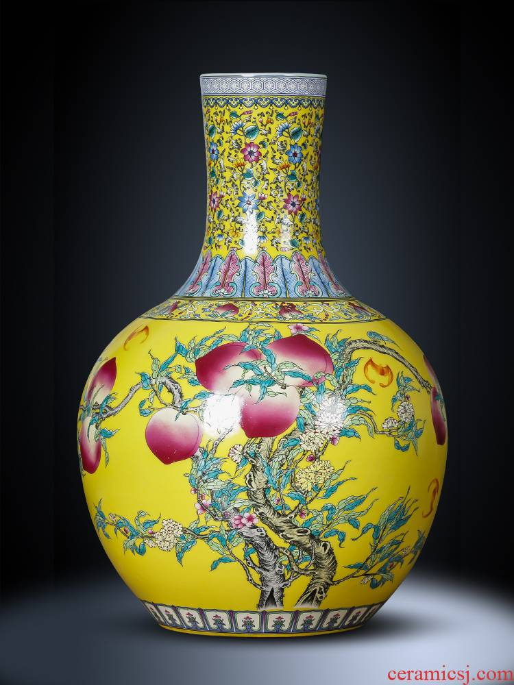 Jingdezhen ceramics vase furnishing articles, the Chinese yellow emperor ancient frame tree mattress in the sitting room porch decoration