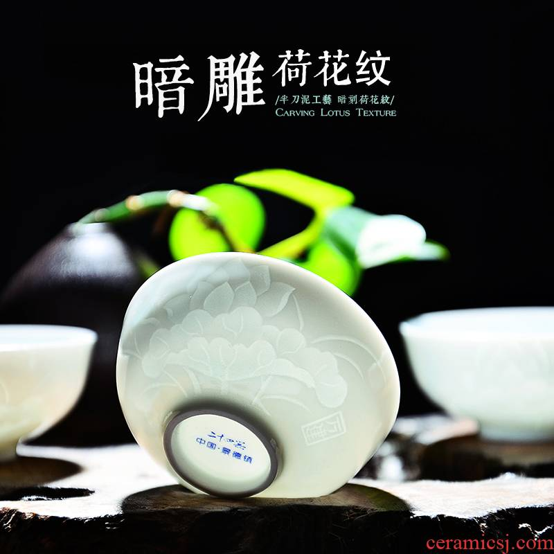 24 is carving knife clay kung fu master single glass ceramic cups sample tea cup white porcelain tea set small cups