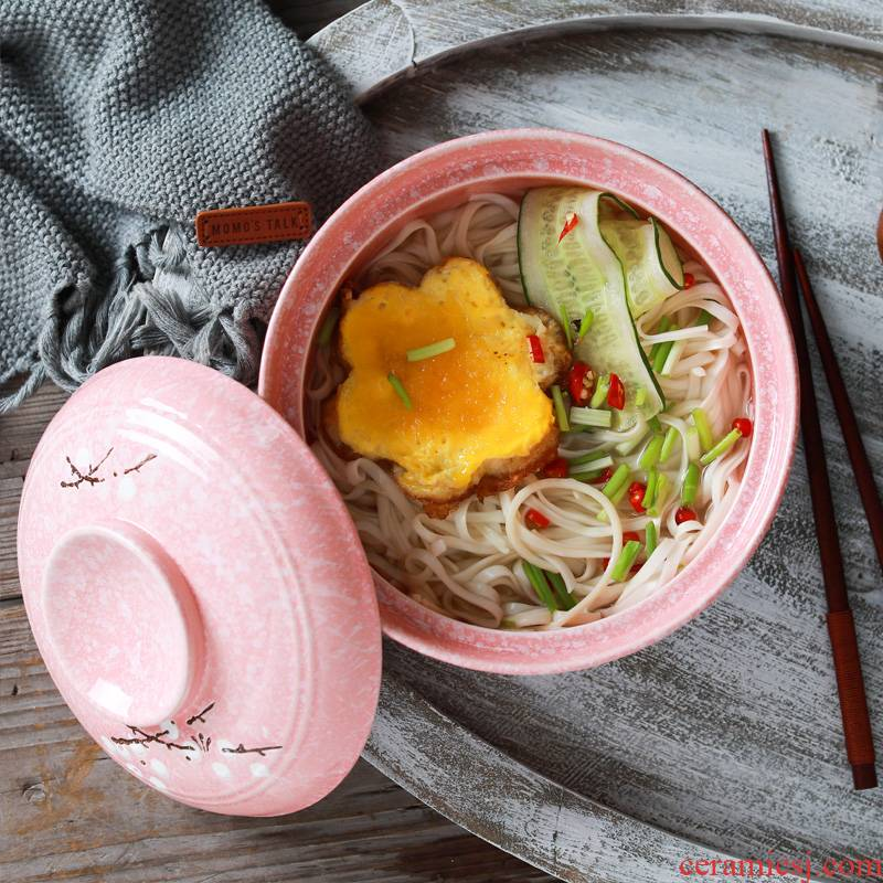 Jingdezhen ceramic bowl household use Japanese creative move eat rainbow such as bowl bowl with cover mercifully soup bowl large tableware
