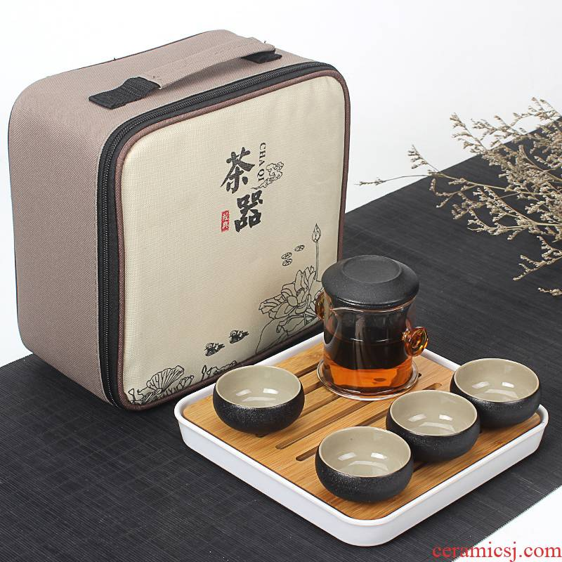Zen new 4 people of black tea tea peng Chen bladder travel tea set suit portable kung fu of a complete set of pot