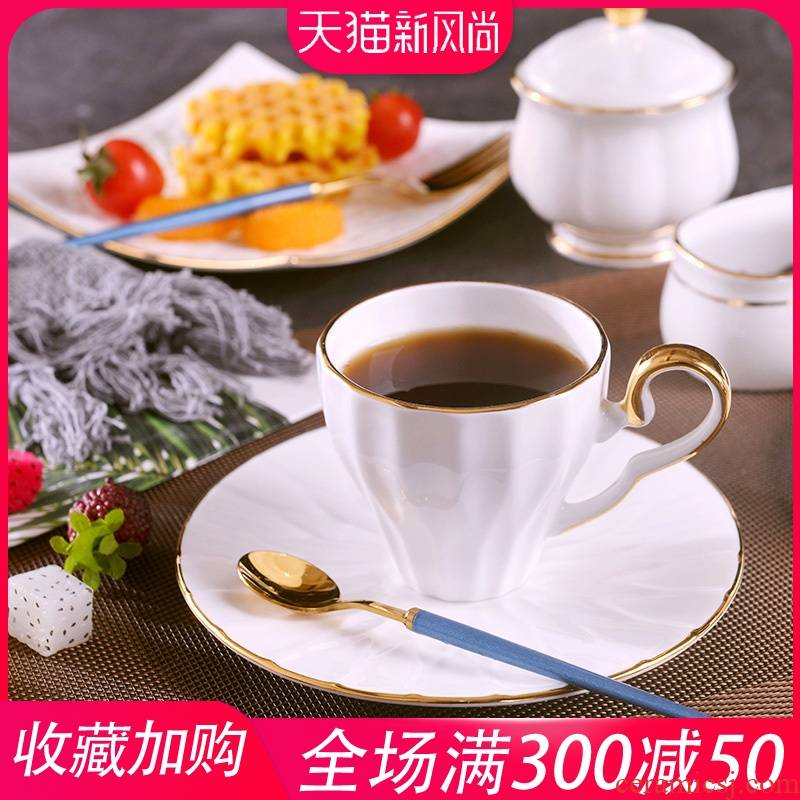 Jingdezhen creative manual gold 】 【 coffee cups and saucers suit household ceramics milk cup tea cup