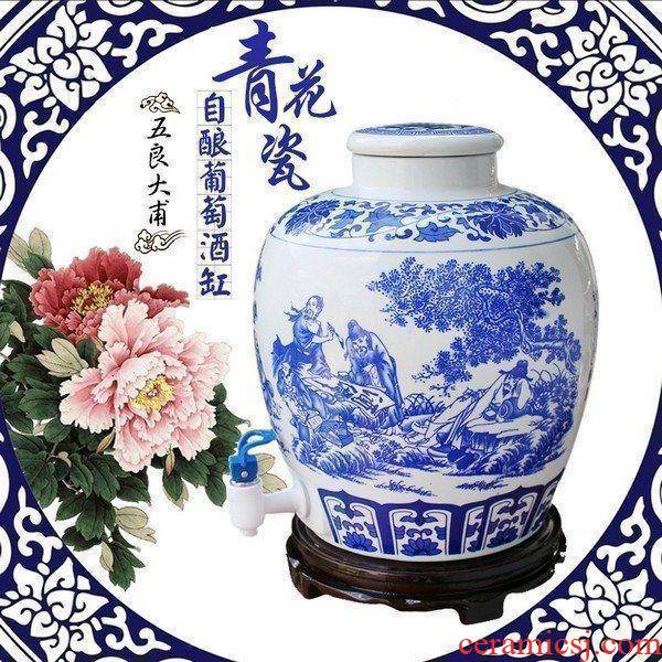 20 jins mercifully wine blue and white porcelain ceramic jars brewed wine it hip mercifully bottle wine jars with the dragon 's head
