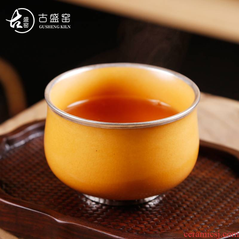 Soda is Ancient sheng up all checking ceramic cup white clay glaze noggin kung fu tea set sample tea cup masters cup can keep open