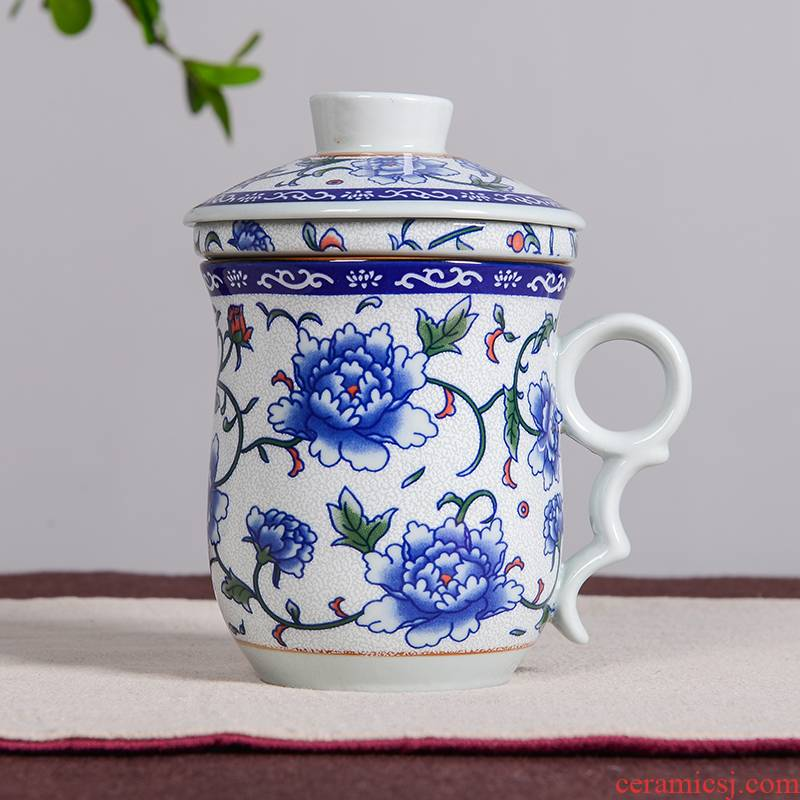 Ceramic tea cup three - piece Ceramic office cup carry the Ceramic filter tank cup large blue and white porcelain cup