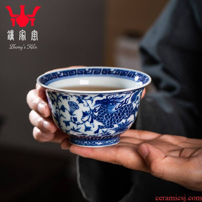 Clock kung fu tea house up with jingdezhen blue and white maintain full manual kirin possessed branch lotus master cup pressure hand cup in delight