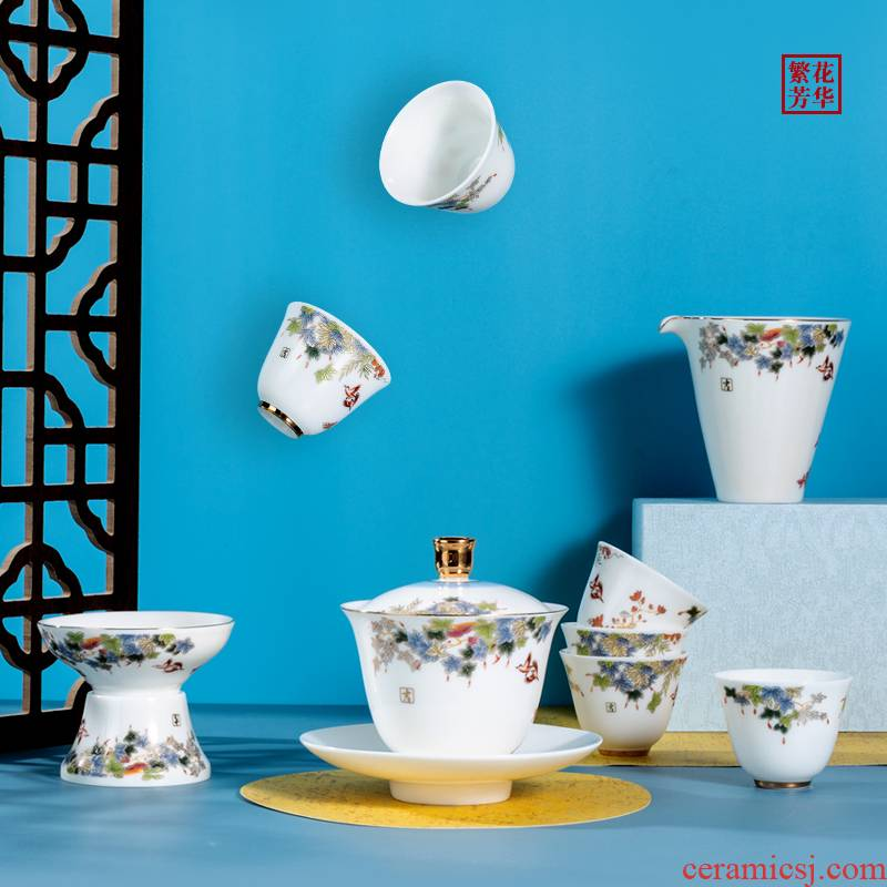 . Poly real scene kung fu tea set kit household small tureen the boom of a complete set of tea cups set light key-2 luxury gifts white porcelain of a complete set of Jane