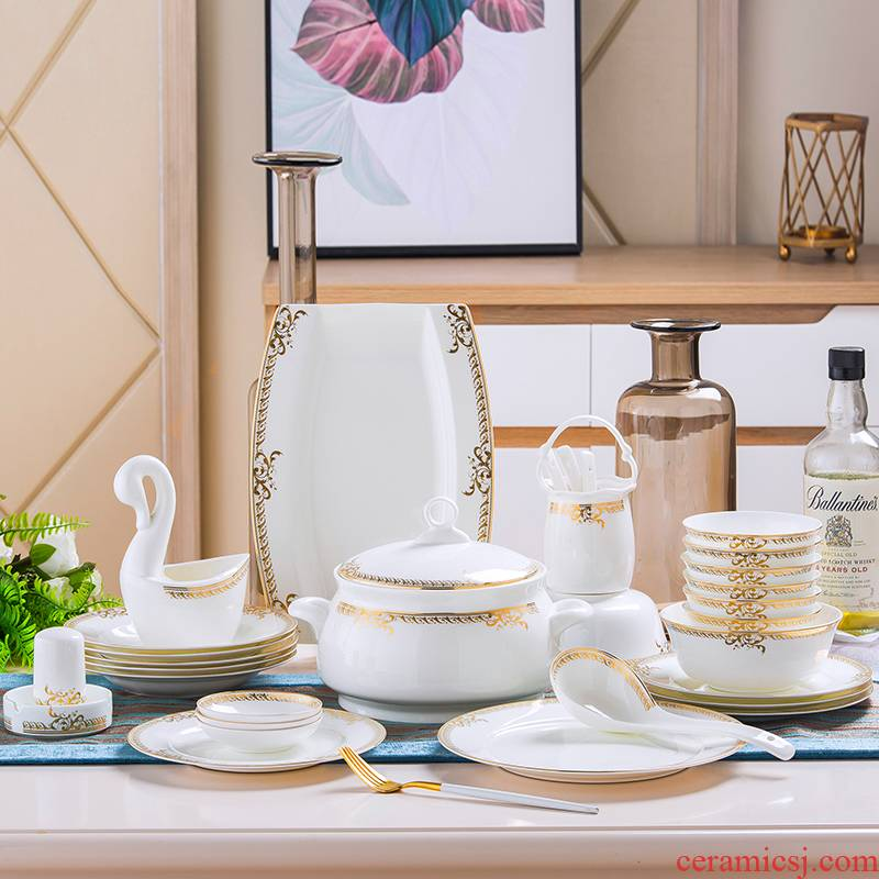 Jingdezhen dishes suit household contracted 60 head dinner set bowl chopsticks ceramics Chinese style composite plate
