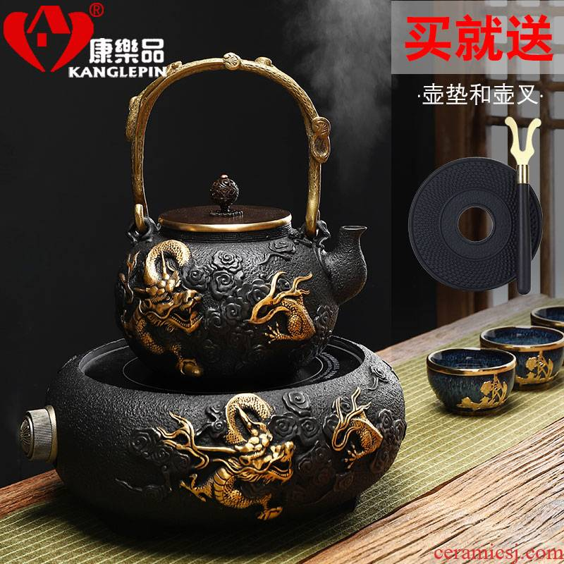 Restore ancient ways recreational product gold iron pot of boiled tea is pure manual cast iron teapot large capacity kettle TaoLu household electricity