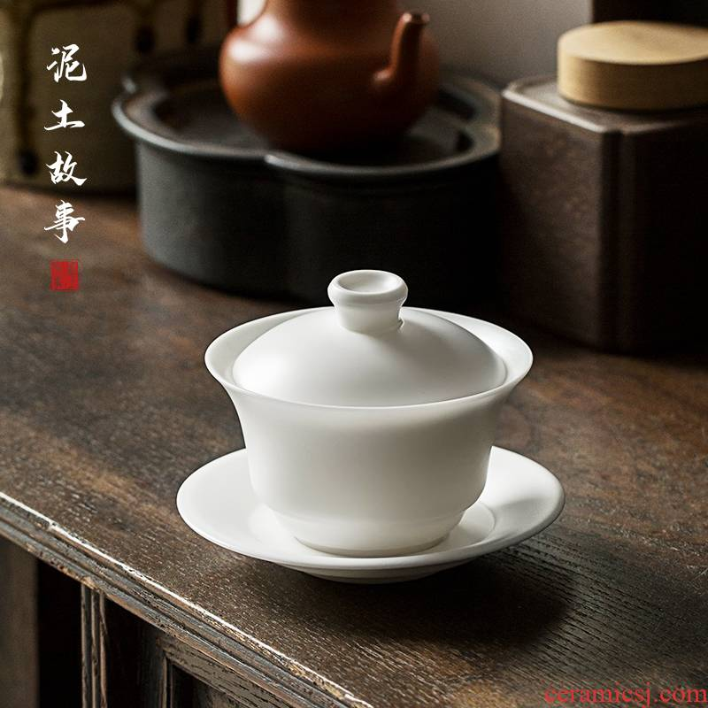 Dehua suet jade biscuit firing porcelain manual tureen tea cups three bowl bowl of kung fu suit household individual