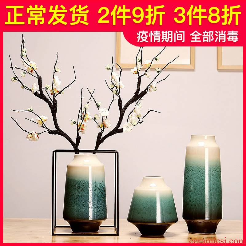 Jingdezhen ceramics vase sitting room porch dried flowers flower arrangement of Chinese style household creative decorations furnishing articles suit