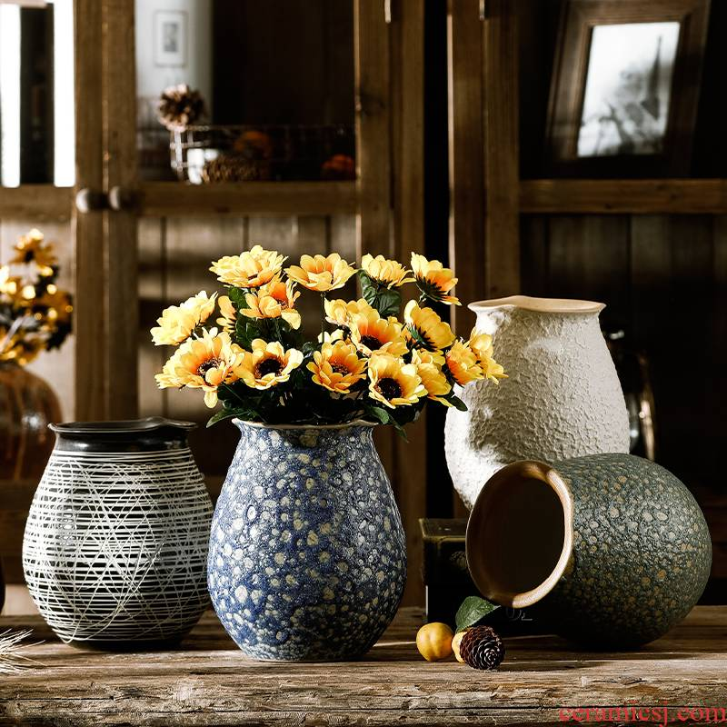 Ceramic mesa floret bottle sunflower dried flower adornment hydroponic water raise I and contracted sitting room table vase furnishing articles