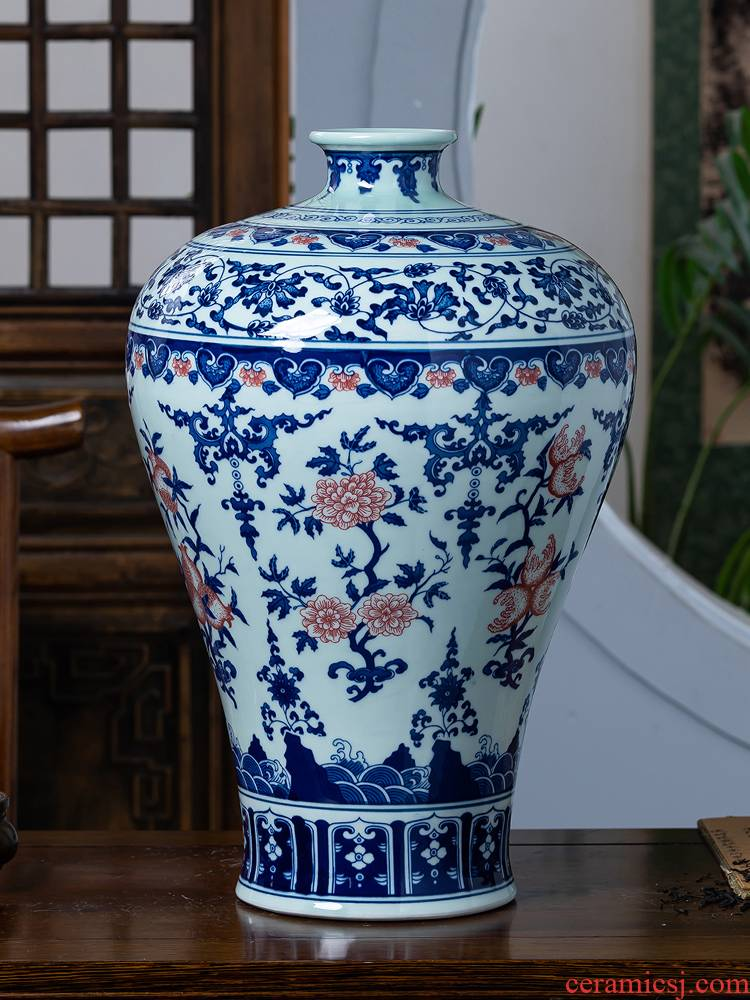Jingdezhen ceramics archaize large blue and white porcelain vase porch TV ark, sitting room adornment of Chinese style household furnishing articles
