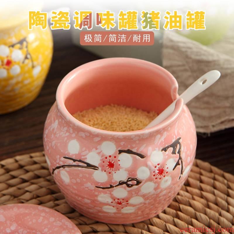 The pot with cover household ceramics sauce seasoning kitchen salt sugar pot single chili oil tank put salt boxes