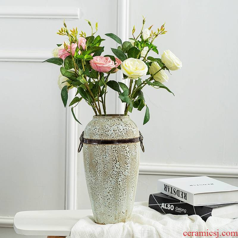The Desktop retro ceramic vases, dried flowers, flower arrangement sitting room porch tea table wine of Chinese style household decorative furnishing articles