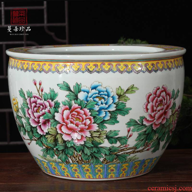 Clear, hand - made pastel peony ceramic VAT tong qu study calligraphy and painting scroll of Chinese style classic furniture products