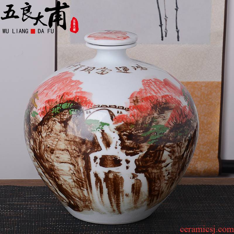 An empty bottle of jingdezhen hand - made ceramic household 15 to 5 jins of 10 jins archaize seal wine liquor jar jar