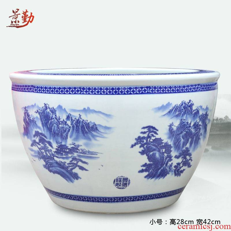 Home furnishing articles of jingdezhen blue and white landscape ceramic aquarium porcelain porcelain jar water lily cylinder in water