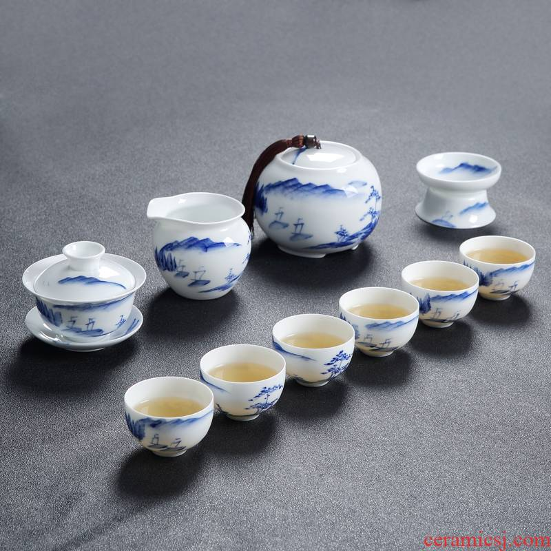 Jingdezhen blue and white porcelain hand - made ceramic kung fu tea set suits for Chinese style household small teapot tea tea cups