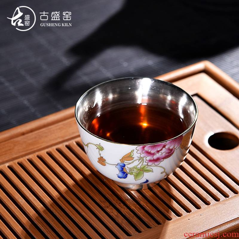 Ancient sheng up new hand - made 99 sterling silver, silver, porcelain enamel enamel coppering. As kung fu master cup single cup silver cup