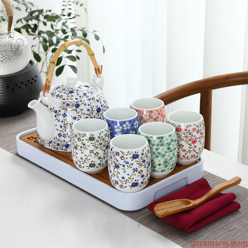 Ceramic water with high temperature resistant teapot tea set 1 belt filter girder pot of Chinese style restoring ancient ways of household