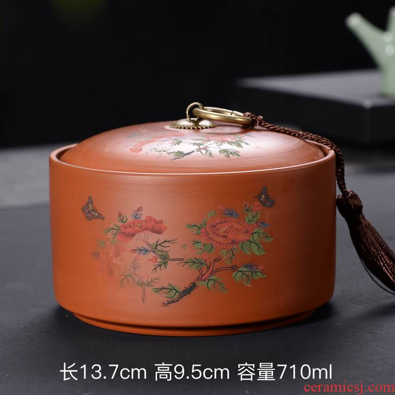Violet arenaceous caddy fixings creative tank kung fu tea set household tea accessories moistureproof large - sized puer tea pot of tea set