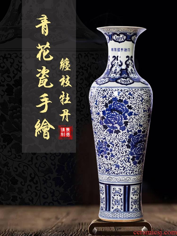 Jingdezhen ceramics antique hand - made large blue and white porcelain vase hotel Chinese furnishing articles to heavy large sitting room