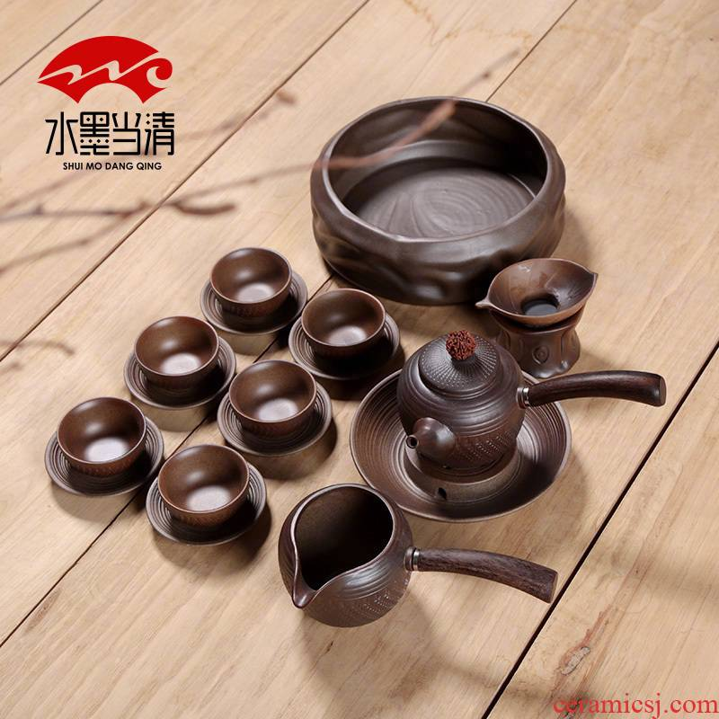 A complete set of kung fu tea sets firewood real ceramic teapot tea tieguanyin simple filter tea home
