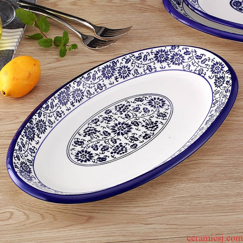 Creative tableware fish dish large household ceramic plate under the glaze color blue and white porcelain steamed fish dish steaming roast whole fish dish