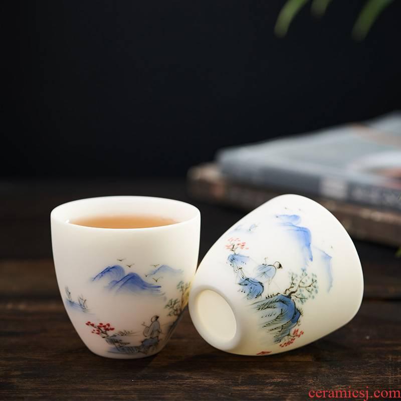 Small white porcelain cup hand - made teacup tea single CPU creative master sample tea cup cup ceramic handicraft gift custom