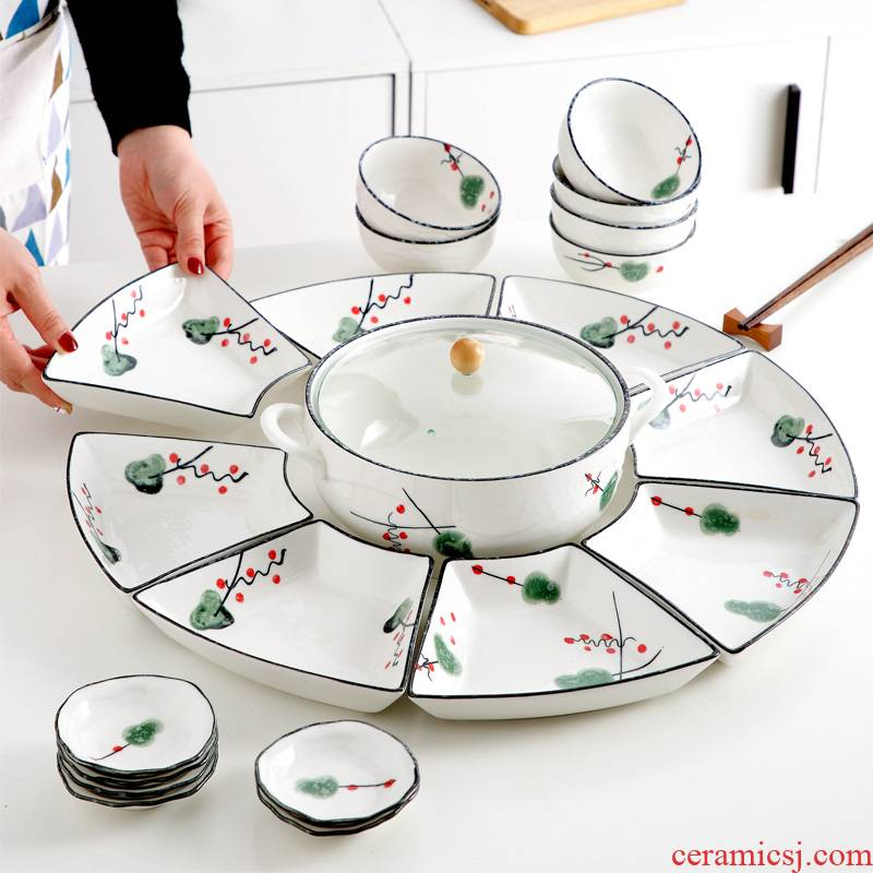 The dishes suit household ceramic dish dish dish creative move reunion party hot pot seafood platter tableware portfolio