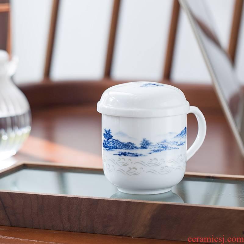 Jingdezhen BaiLingLong jade cup with cover belt filter tea cups separation ceramic single CPU xanadu