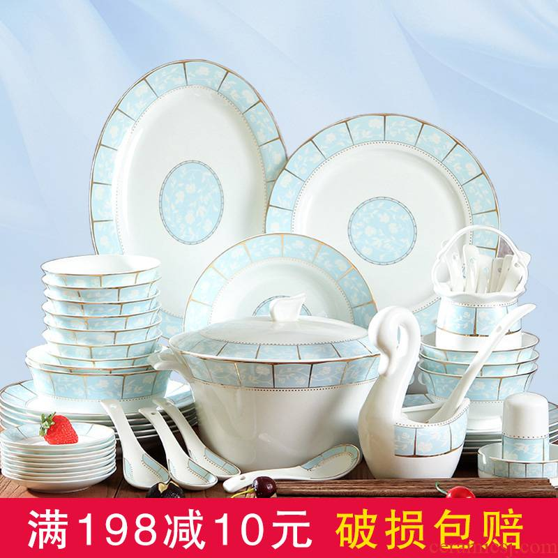 Jingdezhen ceramic tableware Korean household contracted eat bowl chopsticks sets ipads China dishes 56 head plate combination