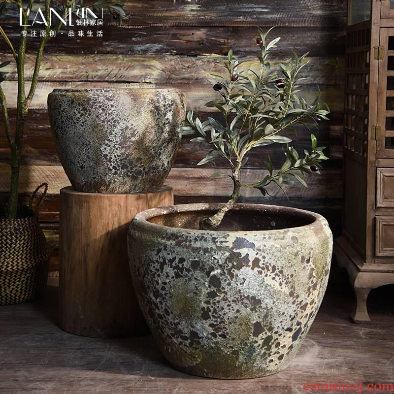 Ceramic antique VAT coarse pottery oversized lotus hand round the altar tank flowerpot landing place courtyard garden