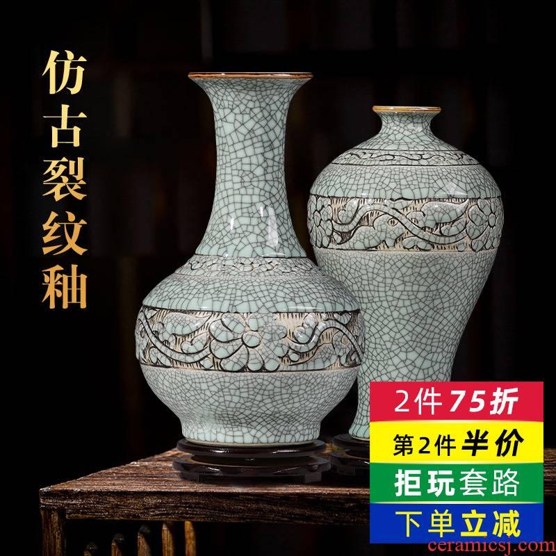 Jingdezhen ceramics hand - carved flower bottle home sitting room flower arranging classic wine restoring ancient ways furnishing articles ornament