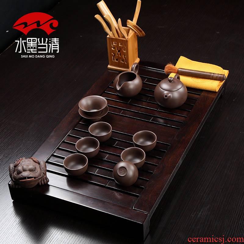 Trumpet ebony wood tea tray drainage ceramic teapot mini cups tea set a complete set of simple Japanese tea taking