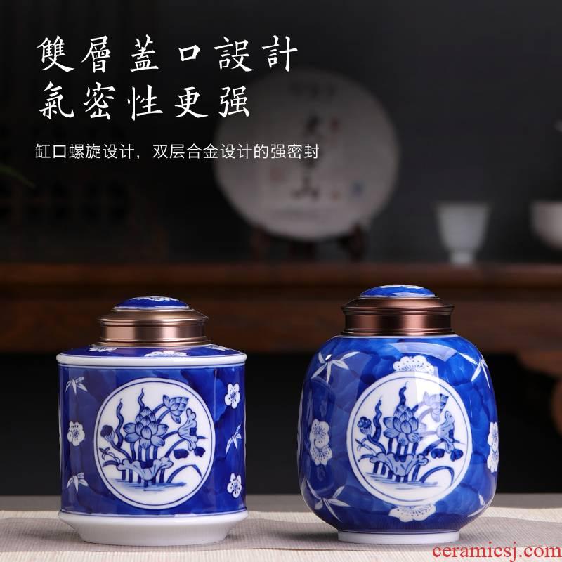 Jingdezhen ceramic tea jar double metal seal pot POTS of tea warehouse moistureproof domestic large storage tanks