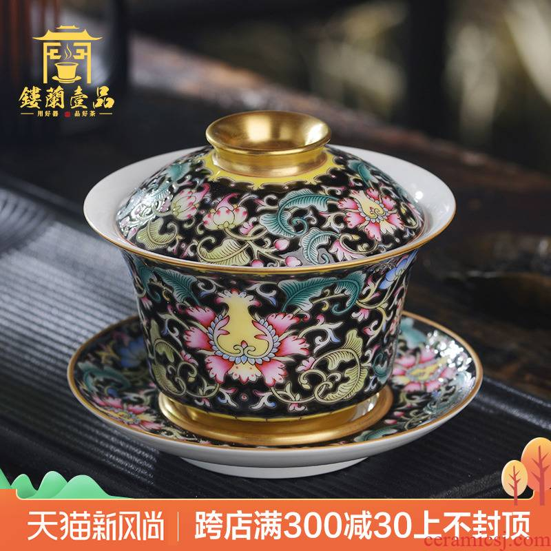 Jingdezhen ceramic all hand colored enamel, black tie up branch lotus three to make tea tureen kung fu tea set large bowl