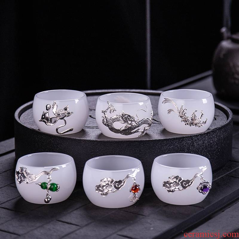 Single white porcelain cup silver inlaid with jade porcelain teacup built one masters cup ceramic kung fu tea cup bowl with a Single set of silver
