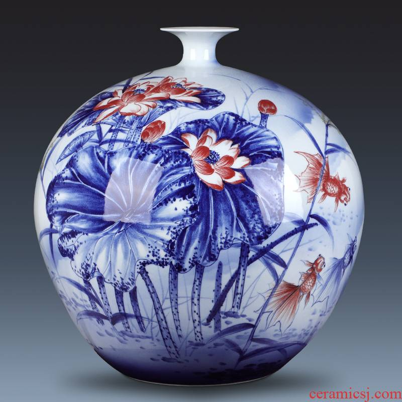Jingdezhen ceramic vase large hand - made years than pomegranate gift collection villa hotel decoration furnishing articles