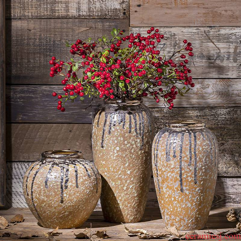 Jingdezhen ceramic vase furnishing articles restoring ancient ways is the living room table flower arranging aquatic flowers coarse pottery archaize do old porcelain