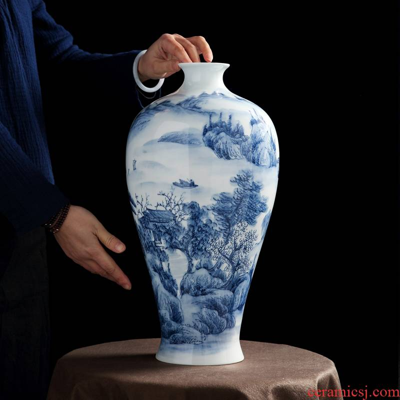 Jingdezhen porcelain vase painting shan spring bottle sitting room of Chinese style painting porcelain vase