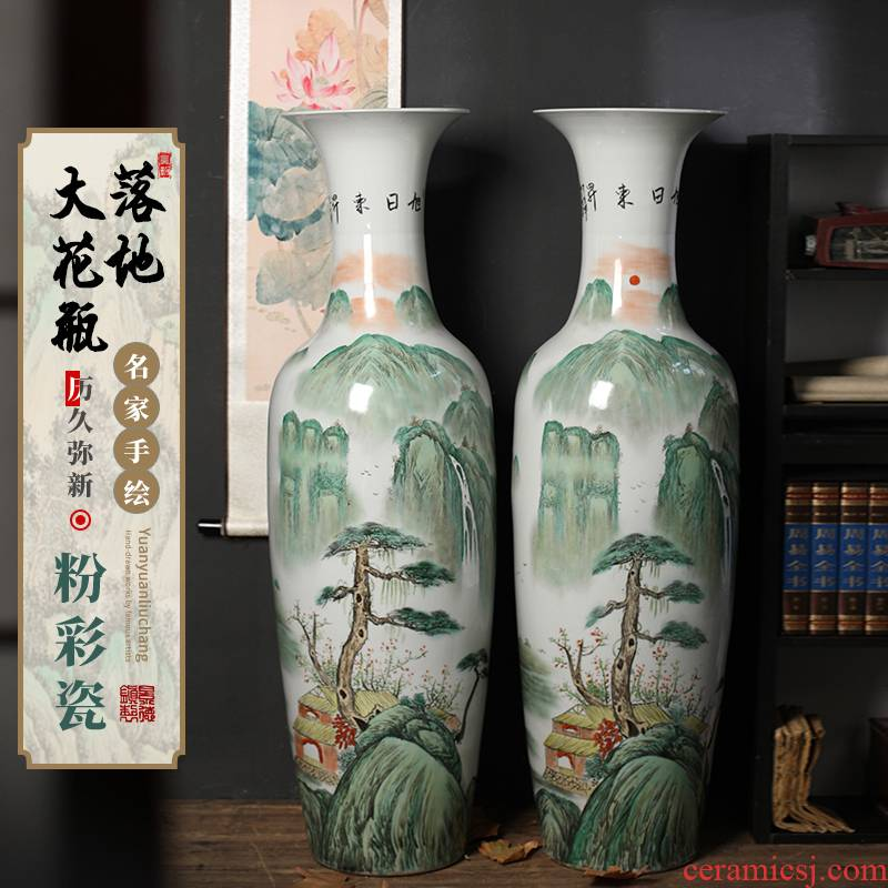 Sun dongsheng jingdezhen ceramics of large vases, hand - made pastel landscape porcelain furnishing articles sitting room adornment