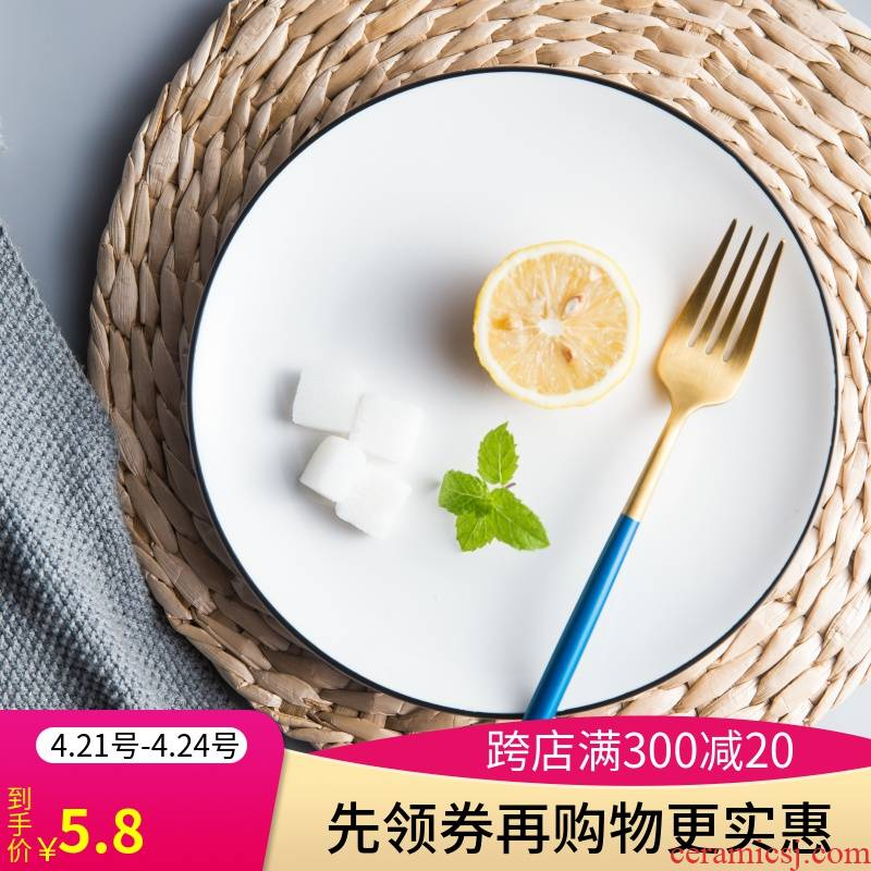 View the best white ceramic Nordic plate round black border contracted style dishes home web celebrity dishes