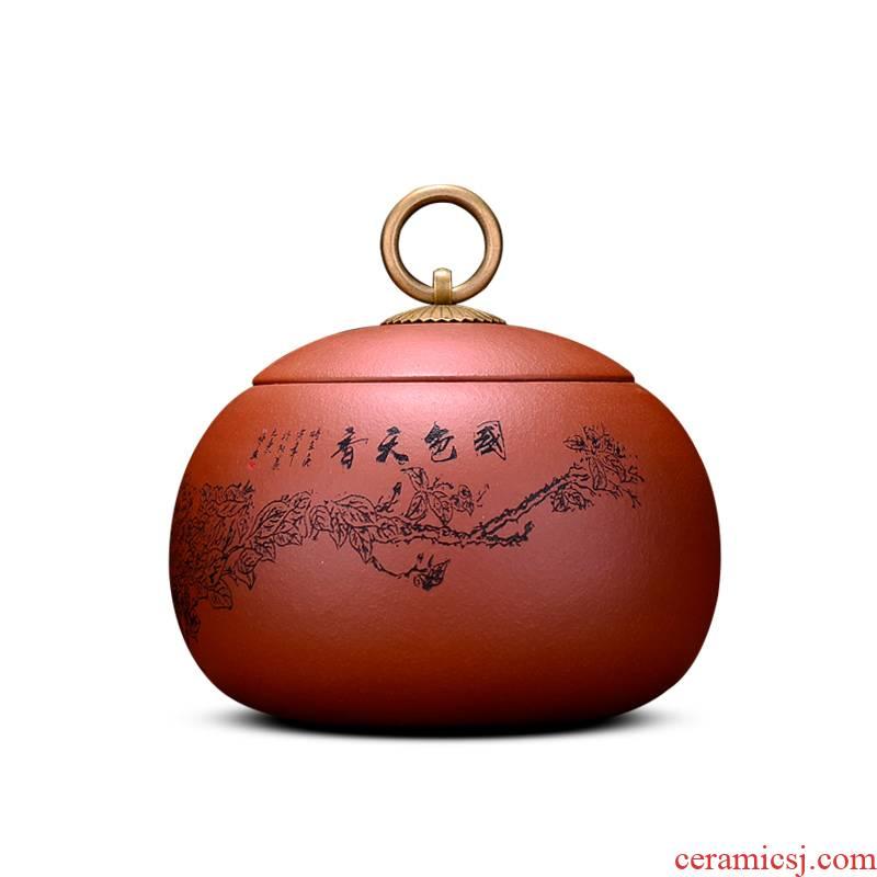 Shadow at yixing purple sand tea pot small portable manual kung fu tea set storage tanks seal pot pu 'er tea